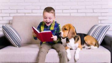 lecture enfant chiens d'assistance à l'apprentissage de la lecture