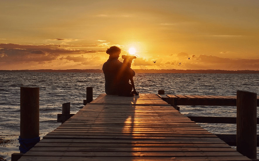 coucher de soleil chien câlin
