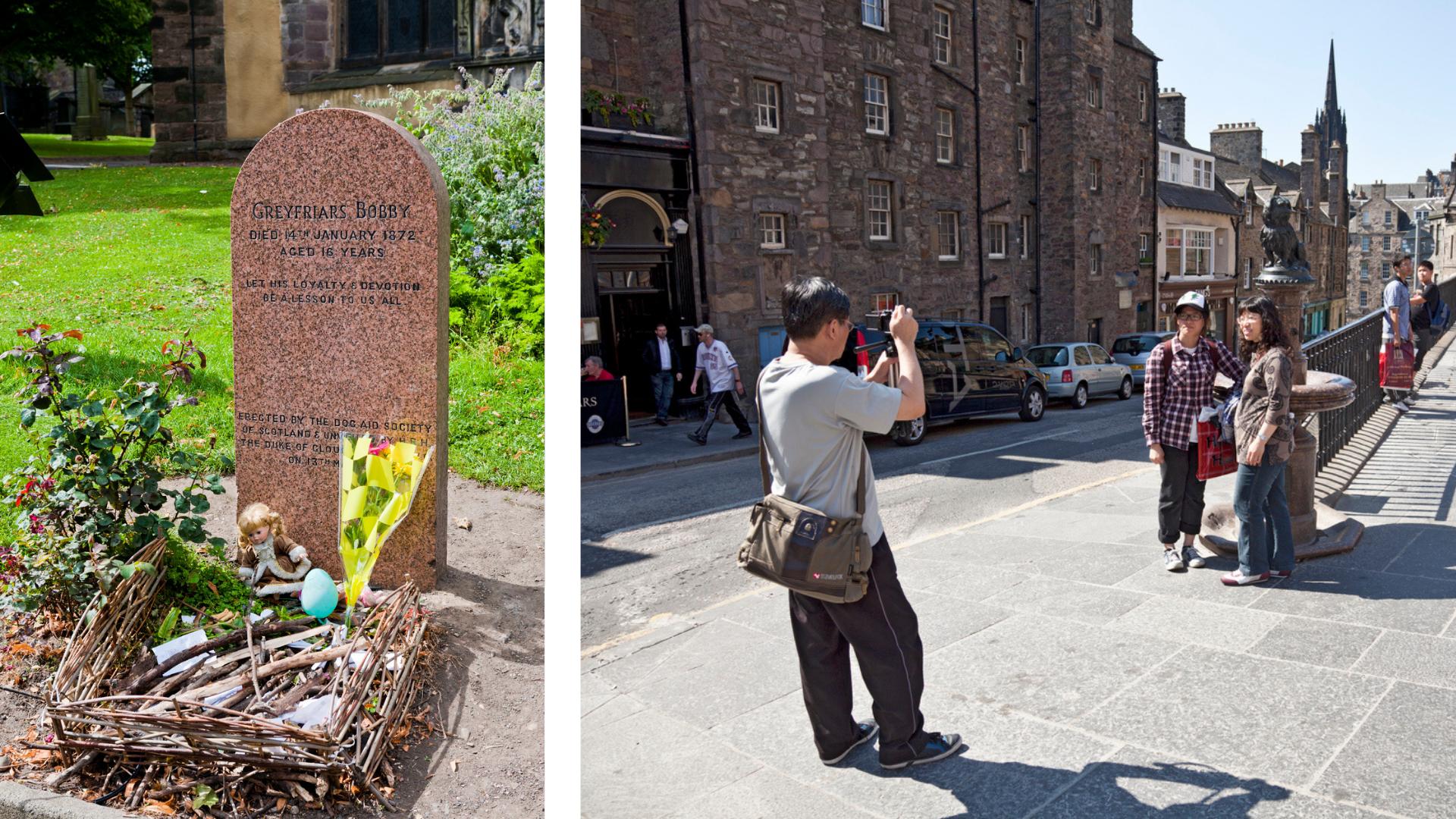 montage de la tombe (à gauche) et de la statue (à droite) de Greyfriars Bobby
